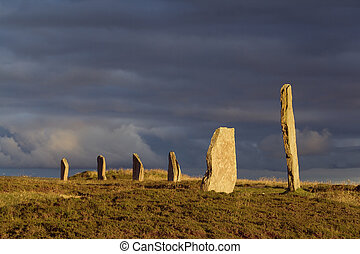 brodgar glow - A portion of the Orkney neolithic site, the...