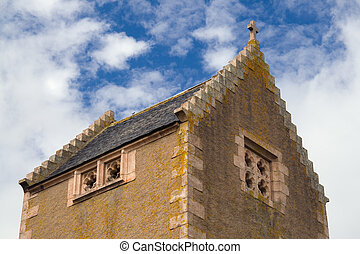 chapel roof - Crow-stepped roof of a traditional scottish...