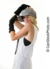 New outfit - Cute blond hair young woman wearing funky hat...