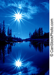 Double Blue Stars - In Camera Mountain Lake Reflection of...