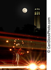 Moon Over Coit Tower - Full Moon Over Coit Tower with...