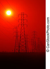 Powerlines At Sunset - Electrical Tower and Powerlines at...
