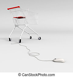 mouse and shopping cart - Computer mouse connected to a...