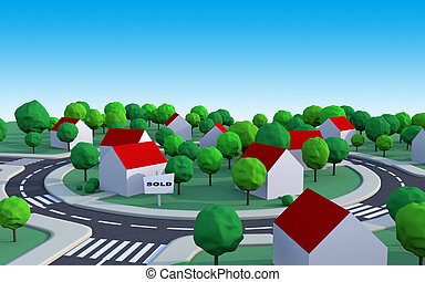 housing estate 2 - housing estate in the suburbs with sold...
