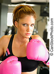 Boxing With Pink Gloves 3 - Beautiful boxing girl wearing...
