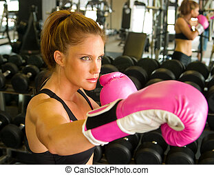boxeo, con, rosa, guantes, 2