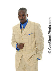 Man in Bright Suit - Handsome man in bright suit with blue...
