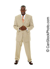 Business Man in Tan Suit - Handsome happy smiling man in tan...