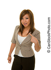 What About Me - Young Asian woman in business suit pointing...