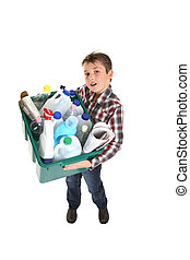 Recycling and waste management - Child holding a recycling...