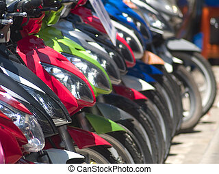 Abstract of light motorbikes - Abstract of front and...