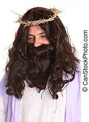 Jesus wears crown thorns