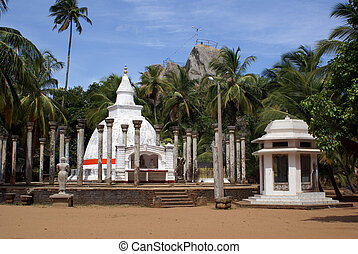 Two dagobas - White dagobas in Mihintale, Sri Lanka