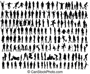 people - isolated silhouettes on the white background ,all...
