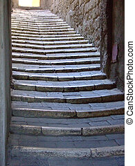 Stairs in rural town,