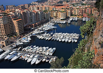 Monaco harbour - A fragment of Monaco and its harbour with...