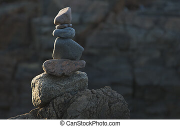 Ogunquit, Maine Cairn - Cairn stones stacked as a memorial...