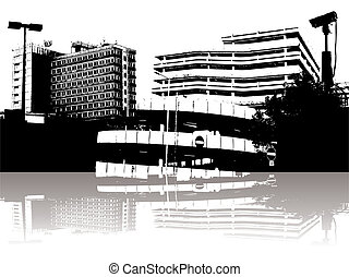 city security - Abstract city security with a reflection and...