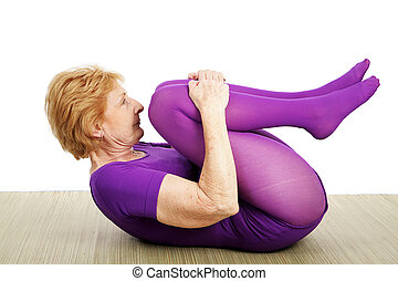 Senior Yoga - Suppine - A fit flexible seventy year old...