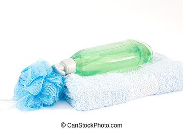 bath time - bottle of soap, sponge and towels
