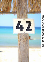 42 the answer on a beach umbrella