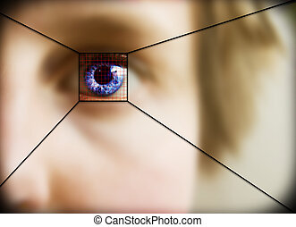 Retina Scan - Digital retina scan of a blue eyed woman