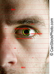 Iris Scan - An iris scan concept image of a male with a few...