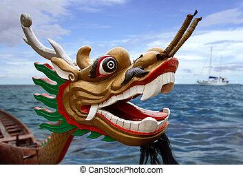 dragón, carreras, barco