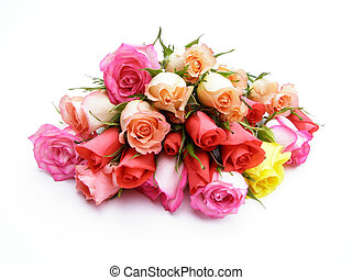 colorful roses - Close-up of colorful bunch of roses on...