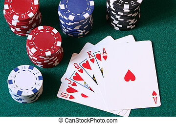 Winning hand - The best hand at any form of poker, a royal...