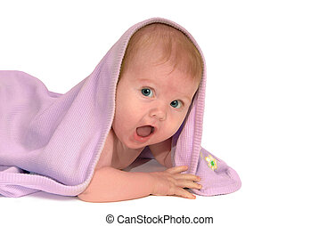 What a Surprise! - Baby on belly, with open mouthed...