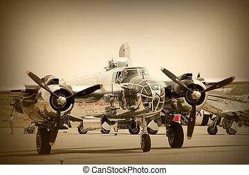 Vintage Plane - A wide vintage aeroplane in sepia color tone