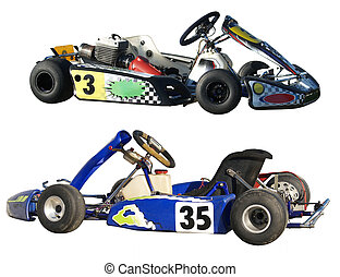 Two Go Karts - Two gokarts isolated with clipping path