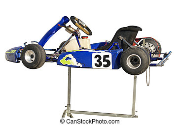 Blue Go Kart on Stand - A blue go kart stand isolated with...