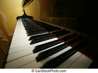 Grand piano ebony and ivory keys