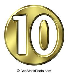 3D Golden Framed No 10 - 3D Golden Framed Number 10
