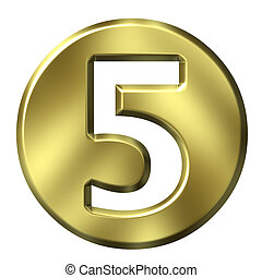 3D Golden Framed Number 5