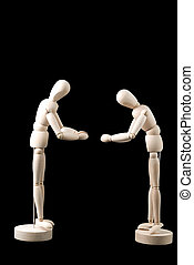 Respect and Customs - Two little faceless mannequins bowing...