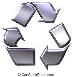 Recycling symbol - 3d silver recycling symbol for metals