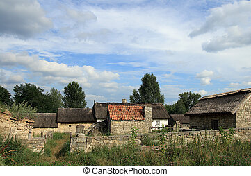 farmstead - Small historical farmstead with stone buildings...