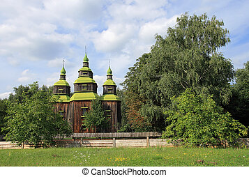 wood church - Ukrainian historical country wood church,...