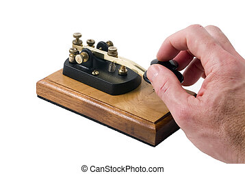 Fun with old communication tool - Man operating a morse code...