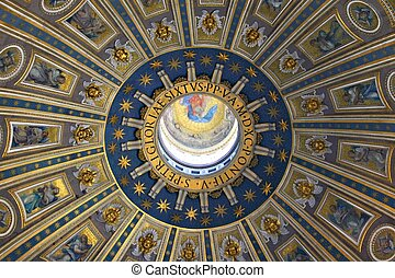 dome of st peters basilica - details of dome of st peters...