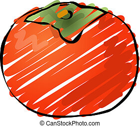 Persimmon fruit, hand drawn colored lineart illustration...