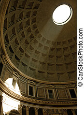 pantheon, rome - sunbeam on the walls of pantheon, rome,...