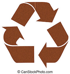 Wooden recycling symbol for paper