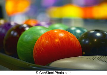 The bowling balls - Nice close-up of the colored bowling...