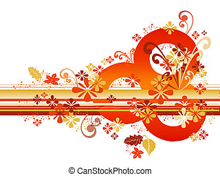 Abstract Autumn Border - Abstract autumn border in orange...