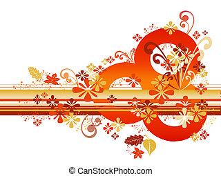 Abstract Autumn Border - Abstract autumn border in orange...