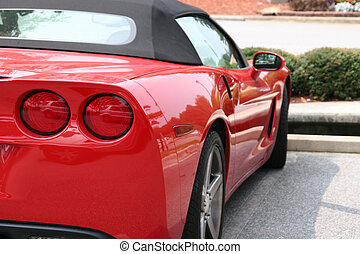 Red Sports Car - A bright red classic sports car from the...